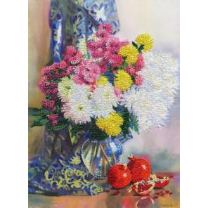 Хризантемы и гранаты Набор для вышивания бисером Золотое Руно РТ-159