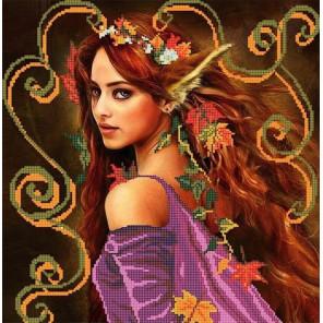 Осень Ткань с рисунком для вышивки бисером Божья коровка 0126