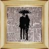 Вариант оформления в рамке Под зонтом Ткань с рисунком для вышивки бисером Божья коровка 0130