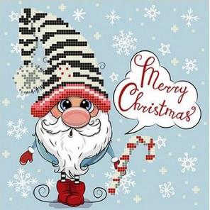 С Рождеством Ткань с рисунком для вышивки бисером Божья коровка 0136