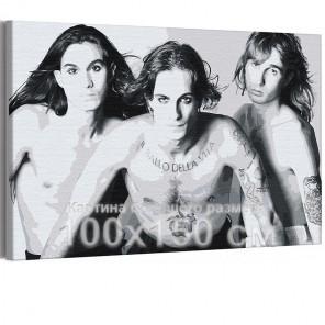 Maneskin / Дамиано, Итан и Томас черно-белая 100х150 см Раскраска картина по номерам на холсте AAAA-RS200-100x150