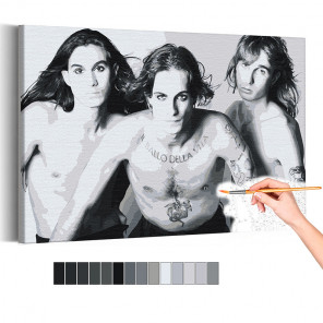 Maneskin / Дамиано, Итан и Томас черно-белая Раскраска картина по номерам на холсте AAAA-RS200