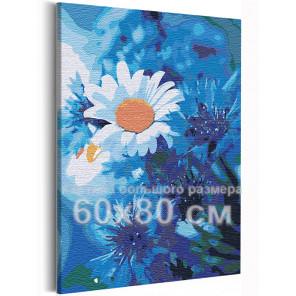 Ромашки на голубом 60х80 см Раскраска картина по номерам на холсте AAAA-RS237-60x80