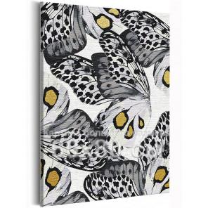 Черно-белые бабочки 60х80 см Раскраска картина по номерам на холсте с металлической краской AAAA-RS238-60x80