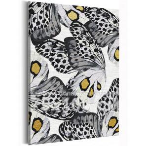 Черно-белые бабочки 75х100 см Раскраска картина по номерам на холсте с металлической краской AAAA-RS238-75x100