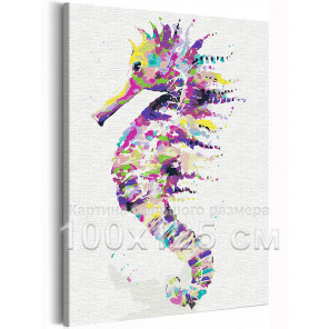 Радужный морской конёк 100х125 см Раскраска картина по номерам на холсте с неоновыми красками AAAA-RS283-100x125