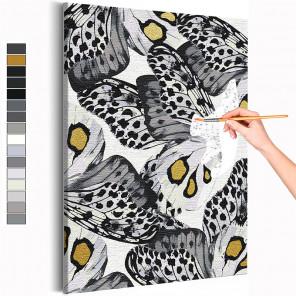 Черно-белые бабочки Раскраска картина по номерам на холсте с металлической краской AAAA-RS238