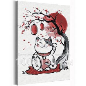 Манэки нэко / Кошка манеки талисман удачи 100х150 см Раскраска картина по номерам на холсте AAAA-RS303-100x150