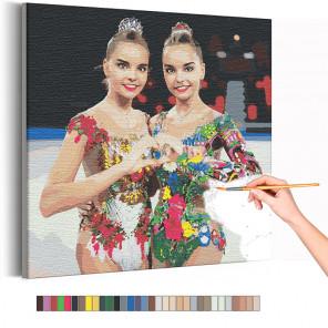 Арина и Дина Аверины / Художественная гимнастика Раскраска картина по номерам на холсте с неоновыми красками AAAA-RS312