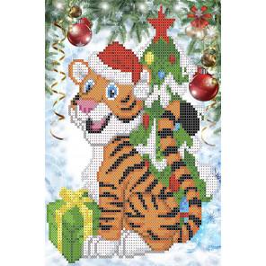 Тигренок с подарком Канва с рисунком для вышивки бисером Каролинка ТКБЖ 4042