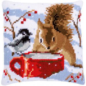 Белка и синица Набор для вышивания подушки Vervaco PN-0163871