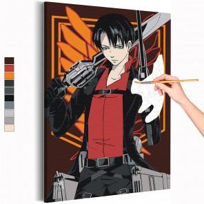 Леви Аккерман / Атака титанов Аниме Раскраска картина по номерам на холсте с неоновой краской AAAA-RS318