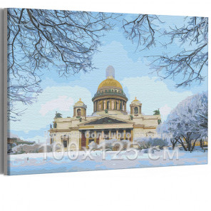 Исаакиевский собор зима / Санкт-Петербург 100х125 см Раскраска картина по номерам на холсте AAAA-RS248-100x125