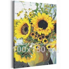 Подсолнухи / Цветы 100х150 см Раскраска картина по номерам на холсте AAAA-RS190-100x150