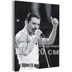 Фредди Меркьюри черно-белый 80х120 см Раскраска картина по номерам на холсте AAAA-RS191-80x120