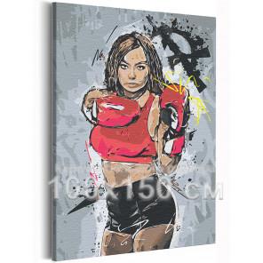 Девушка / Бокс 100х150 см Раскраска картина по номерам на холсте с неоновой краской AAAA-RS192-100x150