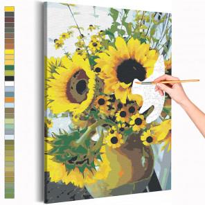 Подсолнухи / Цветы Раскраска картина по номерам на холсте AAAA-RS190