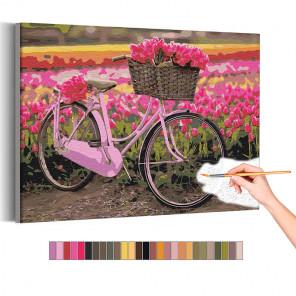Велосипед и тюльпаны / Цветы Раскраска картина по номерам на холсте с неоновой краской AAAA-RS183