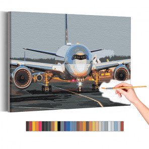 Самолет на взлетной полосе / Полет Раскраска картина по номерам на холсте AAAA-RS194