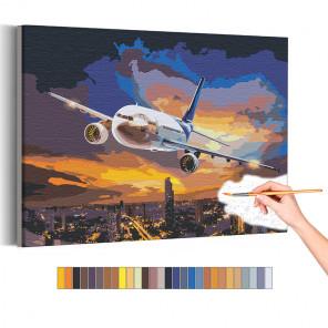 Самолет / Полет в ночном небе над городом Раскраска картина по номерам на холсте с неоновой краской AAAA-RS195