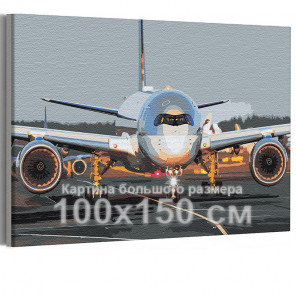 Самолет на взлетной полосе / Полет 100х150 см Раскраска картина по номерам на холсте AAAA-RS194-100x150