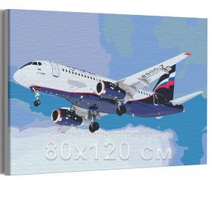 Самолет / Полет в небе 80х120 см Раскраска картина по номерам на холсте с неоновой краской AAAA-RS196-80x120