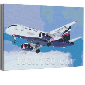 Самолет / Полет в небе 100х150 см Раскраска картина по номерам на холсте с неоновой краской AAAA-RS196-100x150