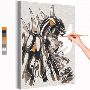 Зигфрид / Рыцари Зодиака Аниме Раскраска картина по номерам на холсте с неоновой краской AAAA-ANI022
