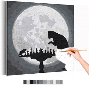Шахматы при луне / Кошки - мышки Раскраска картина по номерам на холсте с металлической краской AAAA-RS307