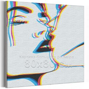 Пример в интерьере Поцелуй / Пара 80х80 см Раскраска картина по номерам на холсте с неоновой краской AAAA-RS313-80x80