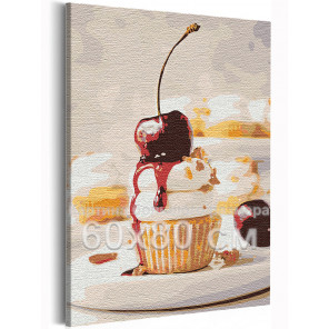 Кекс с вишенкой / Десерт / Еда 60х80 см Раскраска картина по номерам на холсте AAAA-RS153-60x80