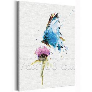 Бабочка и цветок / Полет 75х100 см Раскраска картина по номерам на холсте с неоновой краской AAAA-RS154-75x100