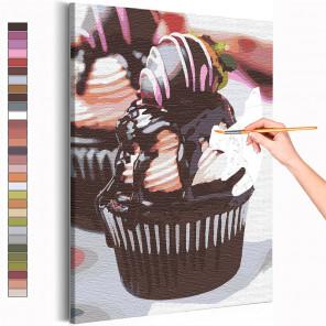 Шоколадный кекс с клубникой / Десерт / Сладости Раскраска картина по номерам на холсте AAAA-RS147