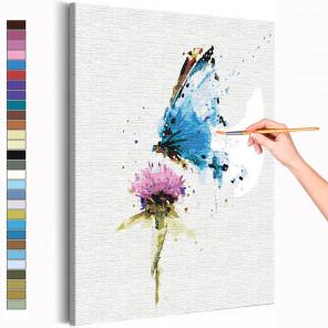 Бабочка и цветок / Полет Раскраска картина по номерам на холсте с неоновой краской AAAA-RS154