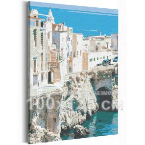 Пример в интерьере Берег Италии / Вилла на море 100х125 см Раскраска картина по номерам на холсте AAAA-RS218-100x125