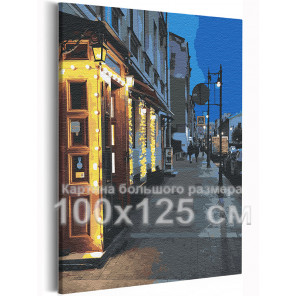Ночное кафе / Санкт-Петербург 100х125 см Раскраска картина по номерам на холсте AAAA-RS247-100x125