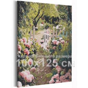Прогулка в саду / Природа / Цветы 100х125 см Раскраска картина по номерам на холсте AAAA-RS223-100x125