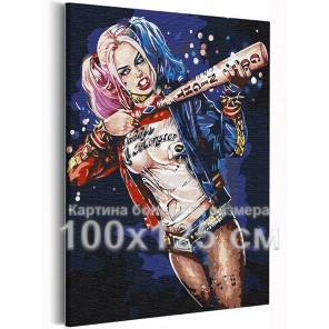Харли Квин с битой 100х125 см Раскраска картина по номерам на холсте AAAA-RS364-100x125