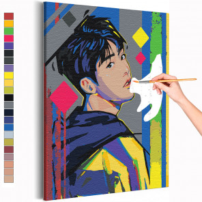 Bangtan Boys / BTS Корейская K-POP группа Раскраска картина по номерам на холсте с неоновой краской AAAA-RS246