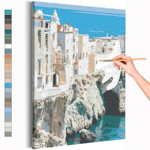 Пример картины и схема Берег Италии / Вилла на море Раскраска картина по номерам на холсте AAAA-RS218