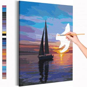 Пример картины и схема Парусник / Закат на море Раскраска картина по номерам на холсте AAAA-RS219