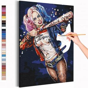 Харли Квин с битой Раскраска картина по номерам на холсте AAAA-RS364