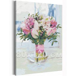 Тюльпаны в вазе / Букет цветов 80х120 см Раскраска картина по номерам на холсте с неоновой краской AAAA-RS206-80x120