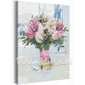 Тюльпаны в вазе / Букет цветов 100х150 см Раскраска картина по номерам на холсте с неоновой краской AAAA-RS206-100x150