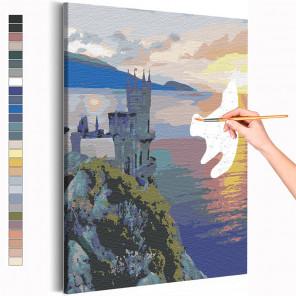 Пример картины и схема Ласточкино гнездо / Крым / Морской берег Раскраска картина по номерам на холсте AAAA-RS202