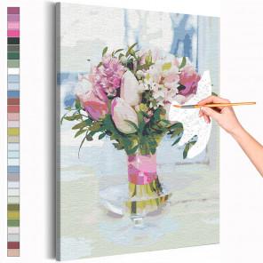 Тюльпаны в вазе / Букет цветов Раскраска картина по номерам на холсте с неоновой краской AAAA-RS206