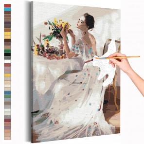 Девушка и букет цветов на столе Раскраска картина по номерам на холсте AAAA-RS210
