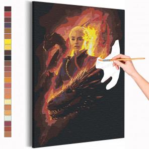 Пример картины и схема Девушка и драконы Раскраска картина по номерам на холсте AAAA-RS211
