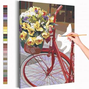 Велосипед и букет цветов / Прогулка Раскраска картина по номерам на холсте AAAA-RS214