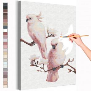 Попугаи на ветке / Птички Раскраска картина по номерам на холсте AAAA-RS215